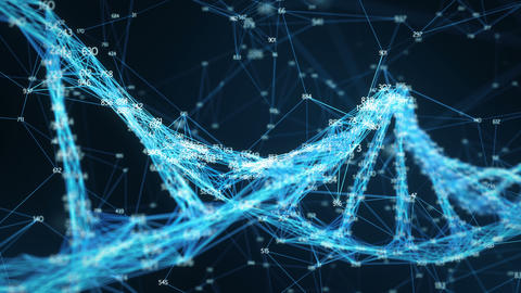Motion Background Digital Plexus DNA molecule random... Stock Video Footage
