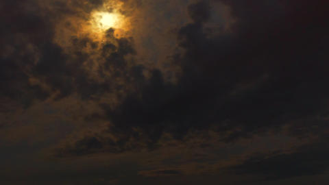 Beautiful night sky, flying clouds and moon. Professional time lapse, no flicker Footage