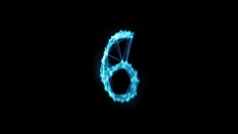 Rotating Digital Binary Plexus Countdown Abstract Motion Alpha Matte 4k isolated Animation