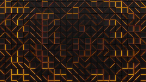 Wall of black rectangle tiles with orange glowing elements CG動画素材