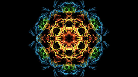 Beautiful mandala multicolored fractal, symmetric patterns in circle, red Animation