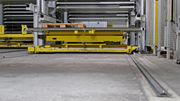 Close-up of fully automated warehouse system moving Footage
