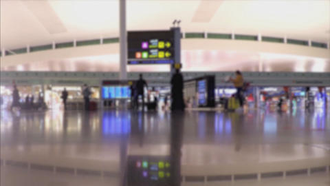 Blurry People In Bright Airport Terminal Interior Stock Video Footage