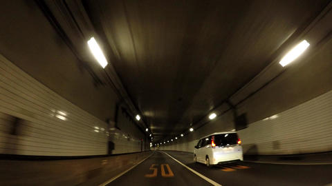 Japanese tunnel. Capital highway, Kasumigaseki tunnel ภาพวิดีโอ
