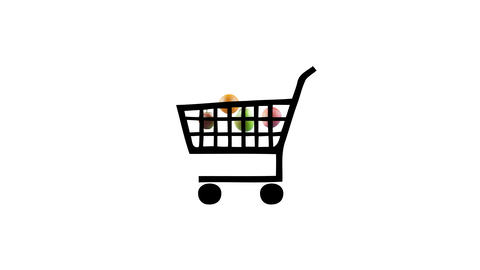 A fruit inside a shopping cart 4K animation colorful scenes CG動画素材