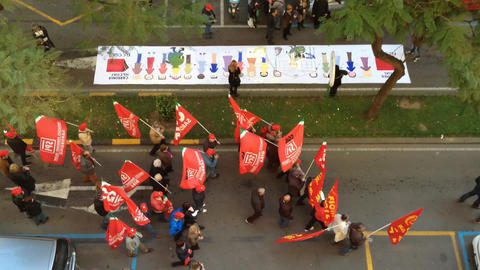 protest of the workers Stock Video Footage