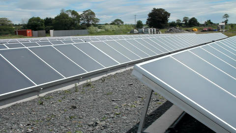 Solar panels power plant Stock Video Footage