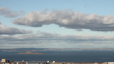 View of the city of Edinburgh and of the sea with Stock Video Footage