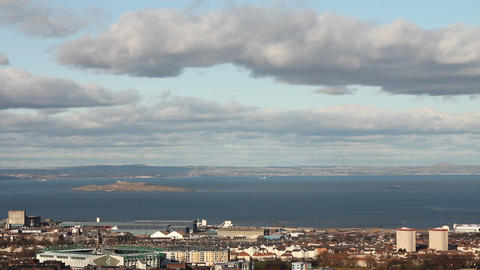 View of the city of Edinburgh and of the sea with  Footage