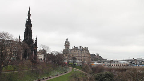 Scott Monument, Princess Street Gardens, Edinburgh Footage
