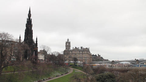 Scott Monument, Princess Street Gardens, Edinburgh Stock Video Footage