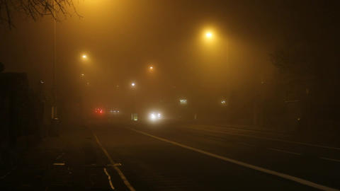 Street with fog in the night Stock Video Footage