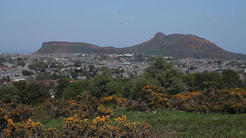 View of Arthur's Seat in Edinburgh Stock Video Footage