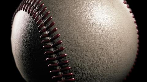 Baseball, Rotation on black background, loop Animation