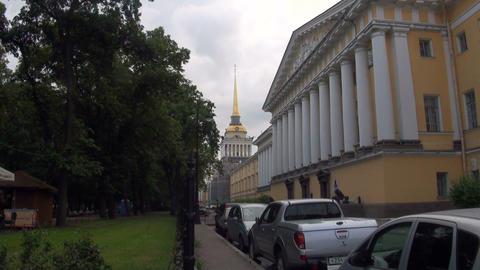 Admiralty Building in St Petersburg Stock Video Footage