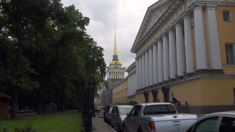 Admiralty Building in St Petersburg Stock Video Footage