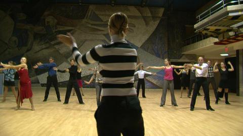 Teacher of the ballroom dance, rehearsal Footage
