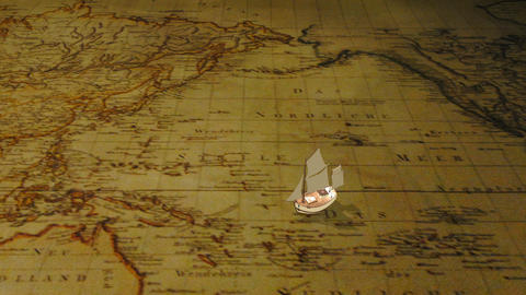 Cartoon sailing ship on vintage world map Animation