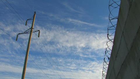 Prison Concrete Fence Footage