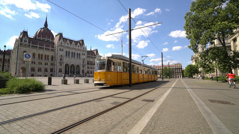 A tram runs in Budapest Footage