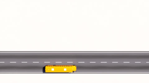 School bus moving on road aerial view copy space Animation