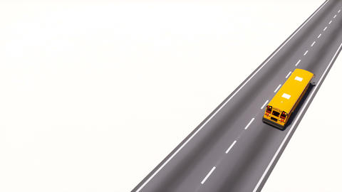 School bus on highway road loopable 3D animation Animation