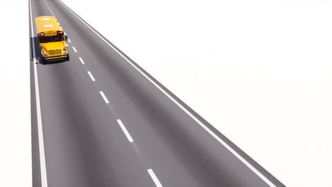 Yellow american school bus driving on highway road Animation