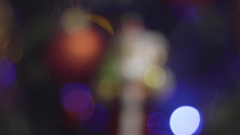 Focusing on santa claus Christmas and New Year Decoration. Abstract Blurred Footage