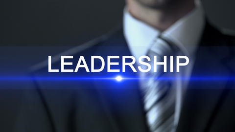 Leadership, businessman wearing suit touching screen, inspiration business skill Footage