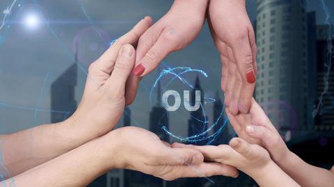 Men's, women's and children's hands show a hologram Soul Live Action