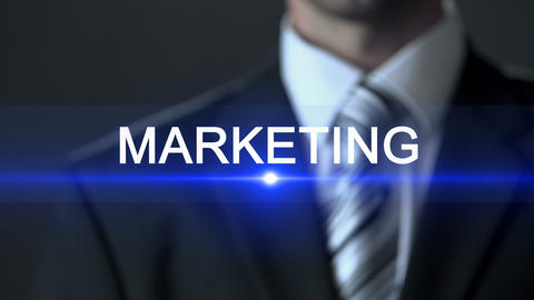Marketing, male wearing official suit touching screen, product promotion, advert Footage