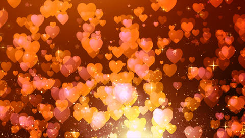 Heart shaped and star particles fly for background Animation