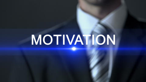 Motivation, businessman wearing suit touching screen, inspirational workshop ビデオ