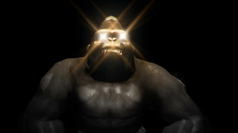 Shiny Golden Eyes Gorilla Full HD VJ Loop Animation
