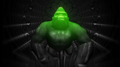 Green Sparkles of Angry Gorilla HD VJ Loop Animation