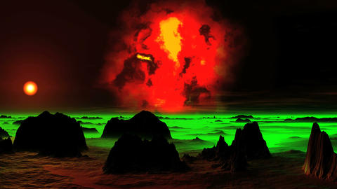 The Burning Nebula over an Alien Planet GIF