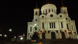 Famous Cathedral of Christ the Saviou at night time, slide shot. Moscow landmark Footage
