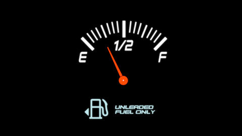 Animated Fuel Meter on a Black Background Footage