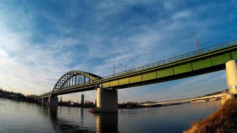 Bridge view from docks Footage