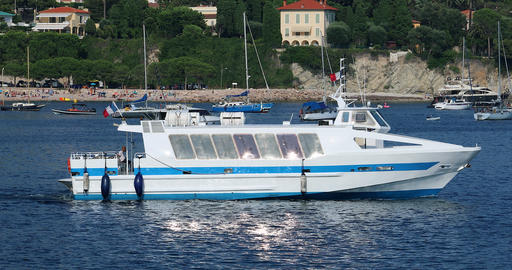 Coastal Boat Trip Crossing The Screen On The Calm Water ビデオ
