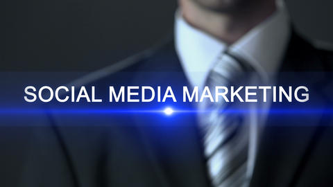 Social media marketing, businessman in suit touching screen, popularization ビデオ