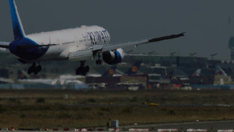 Boeing 777 of Kuwait airlines landing at Frankfurt airport Footage