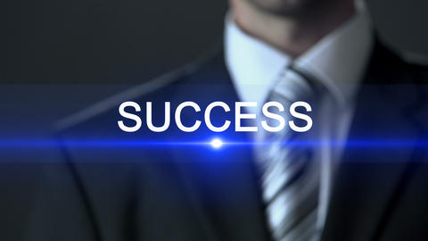 Success, man wearing business suit touching screen, fortune, prominent career Live Action