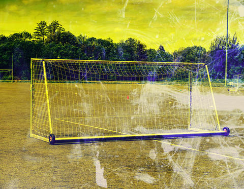 Football (soccer) sport field. Pattern of green artificial turf フォト