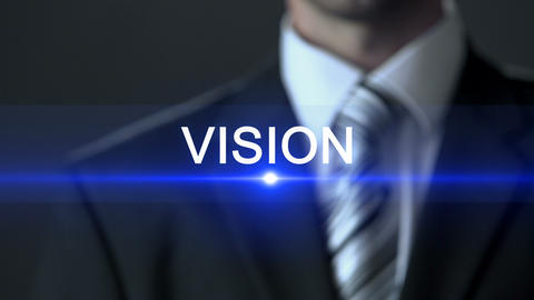 Vision, male in business suit touching screen, development strategy, future Footage