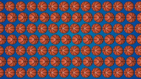 Basketball orange balls 3d blue background pattern horisontal GIF