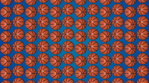 Basketball orange balls 3d blue background pattern vetrical Animation