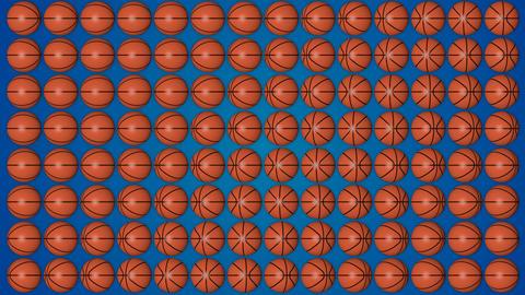 Basketball orange balls rolling 3d blue background pattern GIF