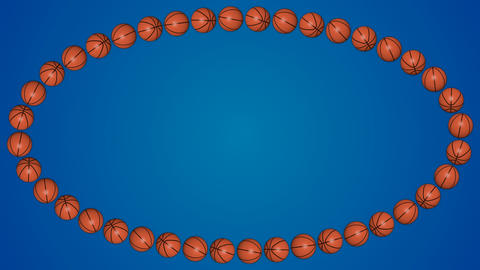 Basketball orange balls 3d border frame blue background pattern GIF