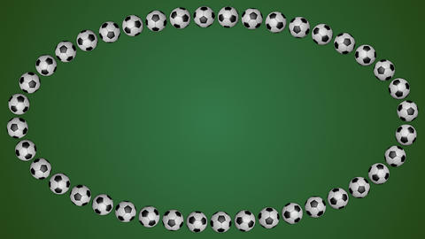 Football balls ellipse frame border screen soccer green background loop Animation